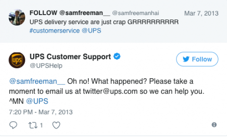 Social media customer support