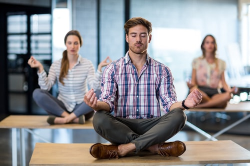 workplace wellbeing - staff yoga